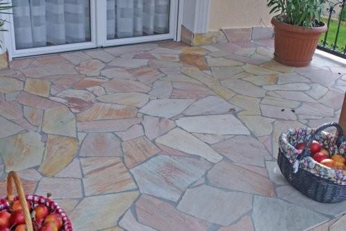 Quarzit rosé, Terrasse, Polygonalplatten