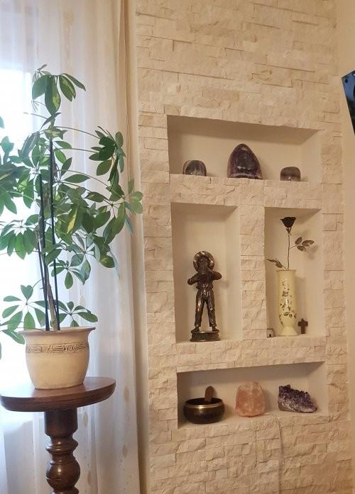 Wandverkleidung Kalkstein Marmor creme, Wandfächer