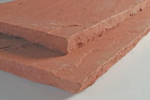 Kanten handbehauen, Sandstein rot