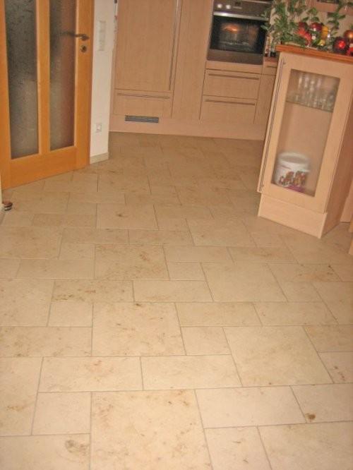 Jura Kalkstein, gelb, sandgestrahlt und gebürstet, Küche Boden