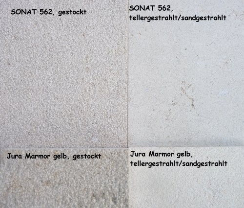 Format des Ara Perla und Jura Kalkstein als Vergleich