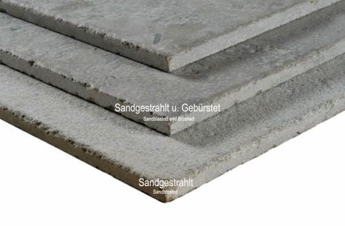 Jura Kalkstein, grau, sandgestrahlt und gebürstet, Kanten