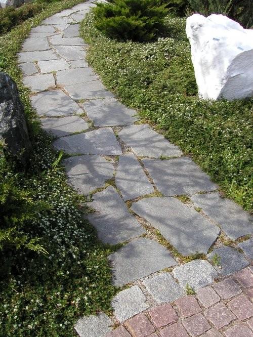 Weg GaLa aus Polygonalplatten Quarzit hellgrau